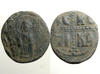 MICHAEL IV / ANONYMOUS BRONZE AE28 FOLLIS___Bust of Christ___BYZANTINE EMPIRE