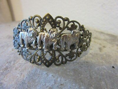 """Lovely English  Bulldogs """"the Triplets""""cuff Bracelet-Very Limited Edition"""