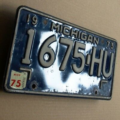 MICHIGAN 1973 = Altes Auto Blech Nummernschild ORIGINAL US License Plate 1675-HU