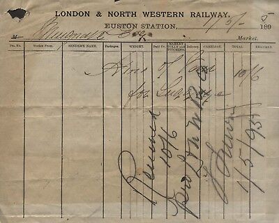 1895 London & North Western Railway, Euston Station, Way Bill, Musgrave