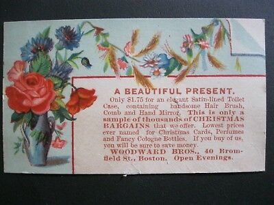 Victorian Trade Card 1800's Woodward Bros. Christmas Bargains Vase Flowers 13