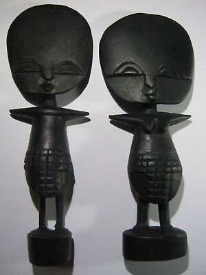 Vintage Hand Made Wooden Man And Woman Tribal Art   . Un
