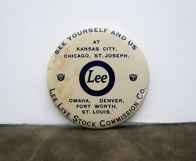 """Vintage Lee Livestock Commission Co. Advertising Mirror 2 1/8"""" See Yourself & Us"""