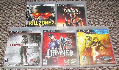 Lot of 5 Playstation 3 Games Fallout / Resident Evil 5 / Tomb Raider / Killzone
