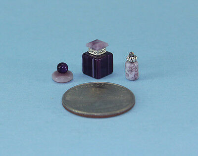 Gorgeous Set of 3 Dollhouse Miniature Perfume Bottles for your Vanity #PS52