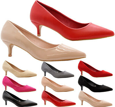Ladies Women Low Mid Kitten Heel Pumps Work Smart Party Pointed Court Shoes Size