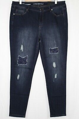 New Lane Bryant Women's Super Stretch Skinny Lace Backed Destruction 18 Mid Rise