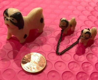 Vintage Miniature Pekingese Dog with Puppy Figurine Made in Japan
