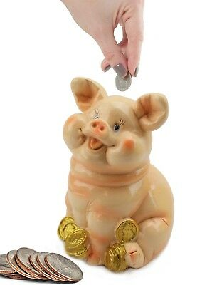 Sitting Pig on Coins Money Piggy Bank Coin Bank Saving Money Gift and Home Decor