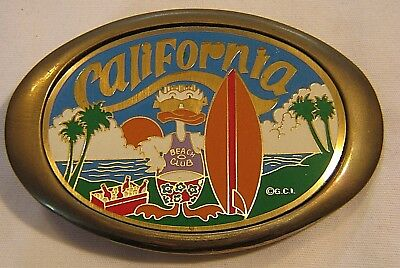 80's NEW-OLD SOLID BRASS CALIFORNIA SOUVENIR BELT BUCKLE