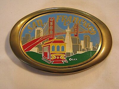 80's NEW-OLD SOLID BRASS SAN FRANCISCO SOUVENIR BELT BUCKLE