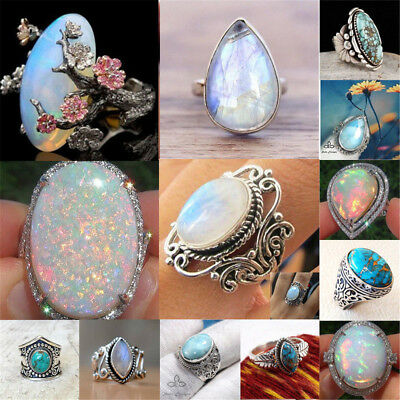 925 Silver Ring White Fire Opal Moon Stone Women Wedding Engagement Jewelry Gift