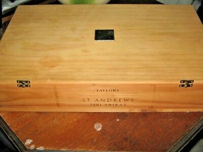 Taylors St Andrews 2001 Shiraz Wood Wine Bottle Box 55.5x34x10.5cm Wood Cradles