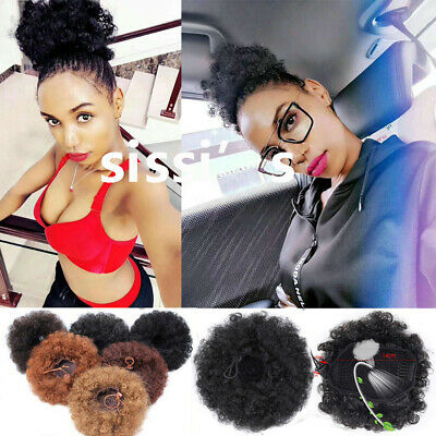 """6"""" 8"""" Afro Ponytail Puff Drawstring Wrap Synthetic Curly Hair Bun Updo Chignon"""