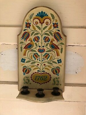 Antique Primitive Folk Art Farmhouse Bird Wood Hand painted Candle Wall Holder