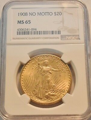 1908 NM $20 NGC MS 65 Gold St. Gaudens Double Eagle, GEM Uncirculated Saint Coin