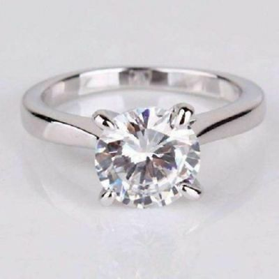 3Ct Round Off White Real Moissanite Solitaire 14k White Gold Engagement Ring