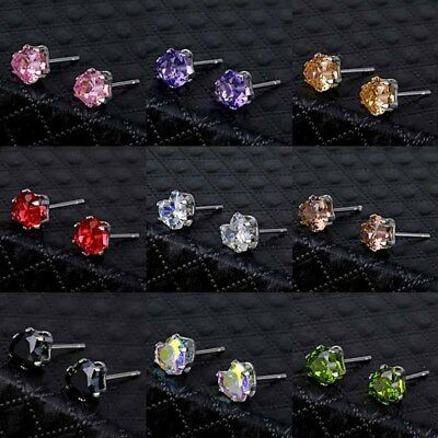Women's 925 Silver Heart Crystal Zircon Inlaid Ear Stud Earrings Jewelry Gift