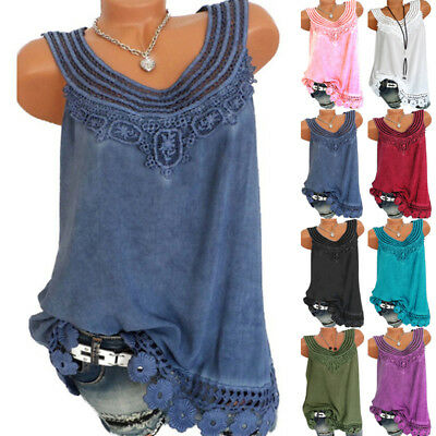 Women's Summer Lace Floral Vest Top Sleeveless Blouse Casual Tank Tops T-Shirts