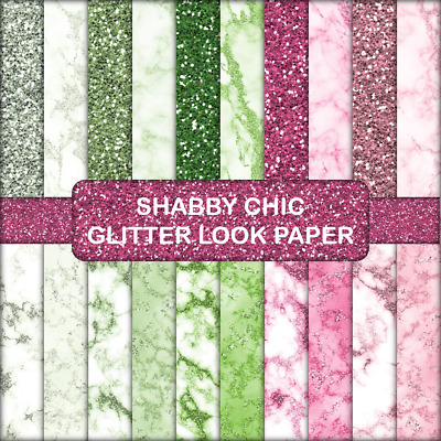 SHABBY CHIC GLITTER LOOK SCRAPBOOK PAPER - 20 x A4 pages.