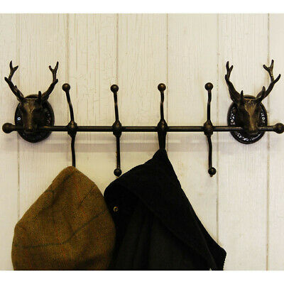 Cast Iron Stag 8 Head Coat Hook Wall Mountable Deer Hat Storage Holder Hanger