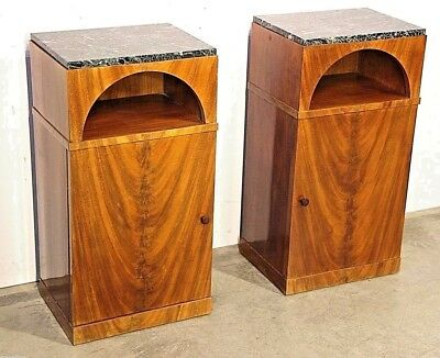 1910 antique Art Deco original marble top bedside cabinets original Scandinavian