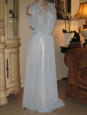TTO65 - Vintage ARTEMIS Nightgown  Size 42 (1 - X)  Tall Blue Nylon Lace Gown