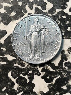 1951 Vatican City 5 Lire (3 Available) High Grade! Beautiful! (1 Coin Only)