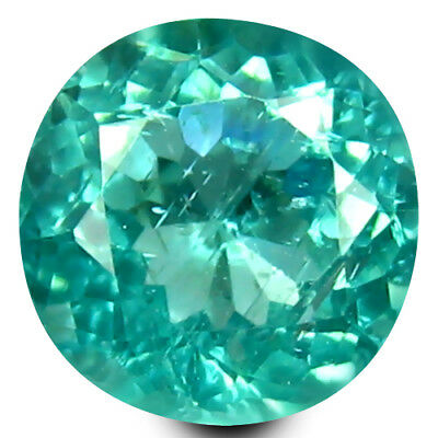 0.77 ct Round Cut (6 mm) Un-Heated Paraiba Blue Color Brazilian Apatite Gemstone