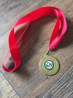 Gold netball medal with lanyard gold
