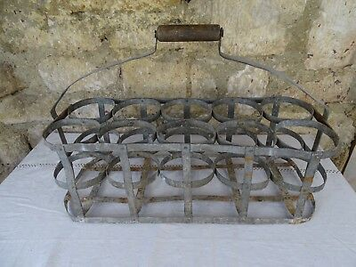 Extra Large Antique French Metal Bottle Carrier -Rare find for 10 bottles