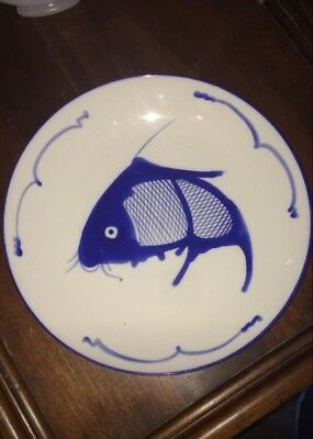 """9-1/2"""" Blue on White Oriental Koi Fish Plate Chinese Dish Made In China"""