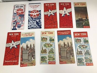 Lot Of 10 Vintage 1950's New York Flying A Road Maps