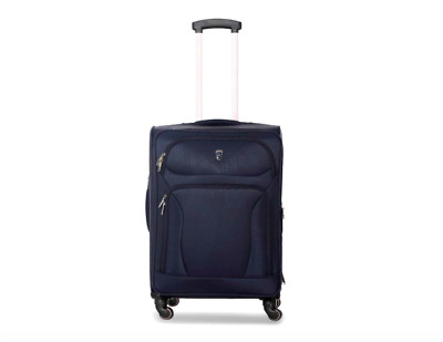 "Polyester 20"" Blue Soft Spinner Suitcase Travel Carry Trolley Bag Luggage"