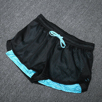 Summer  Double Layer Skinny Gym Casual Shorts For Women Fitness Sports CB