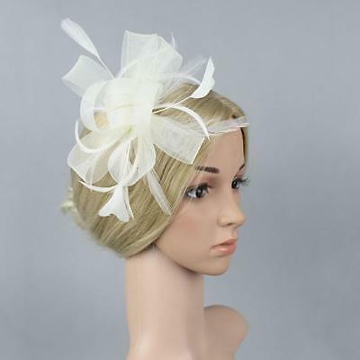 Vintage Wedding Lace Hat Hair Clip Lady Bridal Fascinator Feather Accessories CB