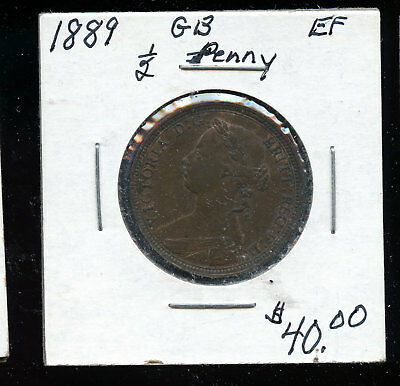 1889  Half Penny Great Britain EF HDC139