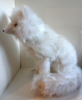 """Long Haired WHITE ARTIC FOX Sitting Figure New Hand Made 17"""" $80 Ships Free"""