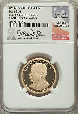2013 Coin Chronicles Set of Two Coins, Theodore Roosevelt, Signed, NGC MS/PF 69