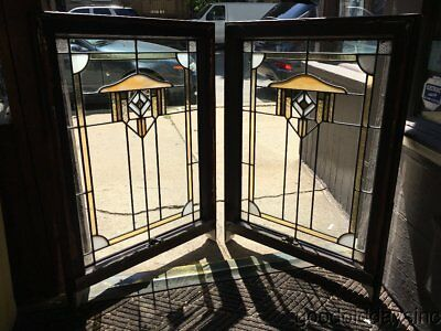2 of 4 Antique 1920s Chicago Bungalow Style Stained Leaded Glass Windows 34 x 24