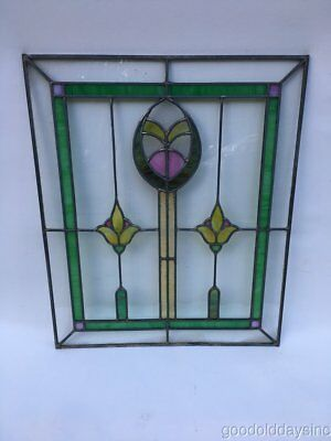 "1 of 2 Antique Chicago Bungalow Style 1920's Stained Leaded Glass Window 24"" 20"""