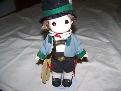 "1996 PRECIOUS MOMENTS 9"" CHILDREN OF THE WORLD DOLL Hans Austria #1515"