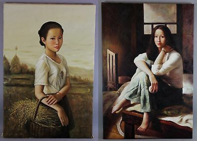 2 Original Signed Realist Asian Chinese or Japanese Woman Portrait Oil Paintings