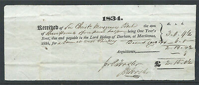 GB 1834 Receipt for Rent Payable to Bishop of Durham by Sir C Musgrave