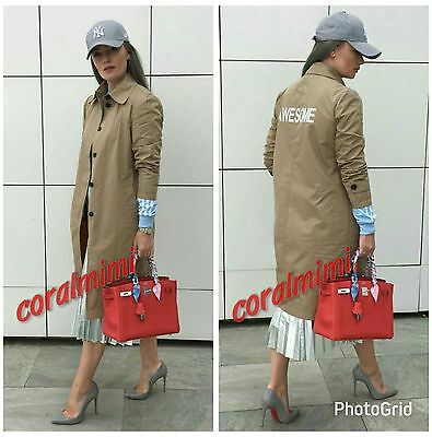 ZARA NEW CAMEL AWESOME  PRINT LONG TRENCH COAT SIZE Xs