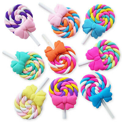 5pcs Clay Swirl Lollipop Flatback Cabochons Embellishment Decoden Craft Phone