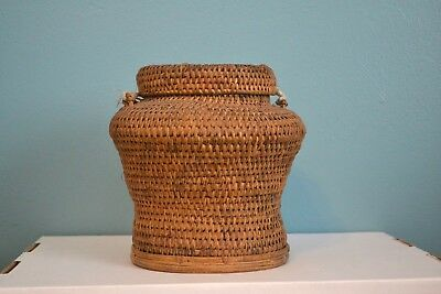 Vintage Antique Philippine Tribal Woven Rattan Rice Basket Collectible