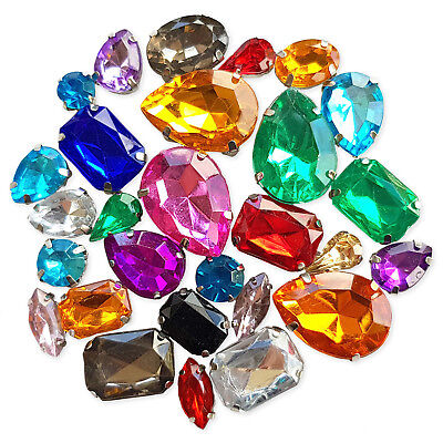20pcs Assorted Garment Sew On Acrylic Crystal Rhinestone Embellishment Gem Jewel