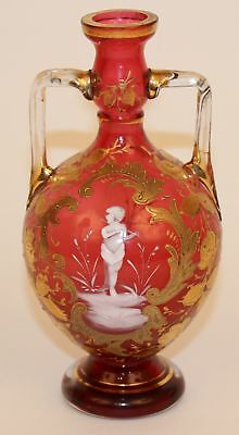 19c VICTORIAN MARY GREGORY CRANBERRY VASE BOHEMIAN