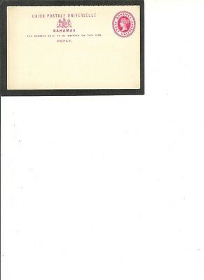 "BAHAMAS Postal Card ""Queen Victoria""  UNUSED  Penny Halfpenny Value ""Reply-ONLY"""